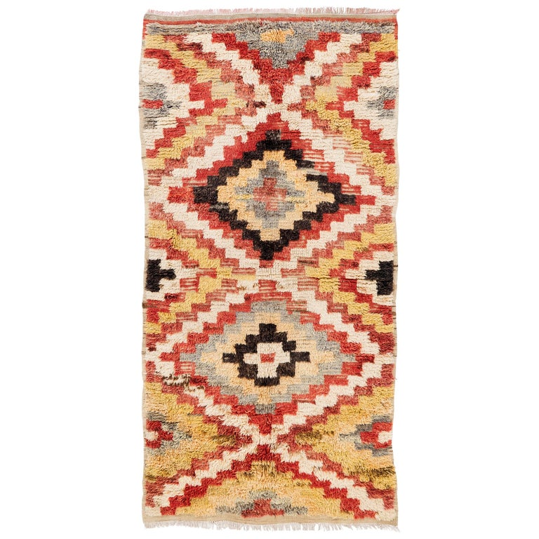 Colorful Vintage Hand-knotted Wool Tulu Long Rug For Sale