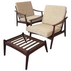Danish Modern Finn Juhl Hans Wagner Style Walnut Lounge Chairs or Ott