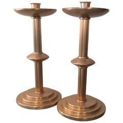 Pair of Art Deco Machine Age Anodized Candle Holders Donald Deskey Style