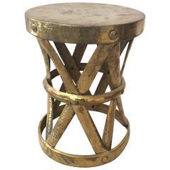 Mid-Century Modern Hollywood Regency Sarreid Hand-Hammered Brass Stool / Table