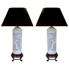 Mid-20th Century Asian Table Lamps in Porcelain on Wood Bases
