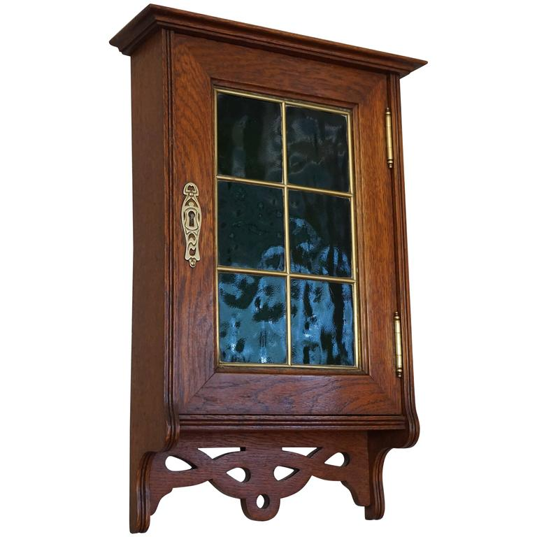 Stunning Little Art Nouveau Wall Cabinet for Keys with Brass and Green  Glass For Sale - Stunning Little Art Nouveau Wall Cabinet For Keys With Brass And