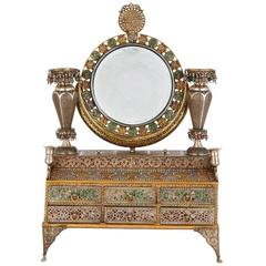 Arabesque Style Enameled Silver Marriage Box for Dressing Table