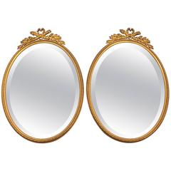 Pair of 20th Century French Brass Mirrors