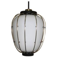 Lantern Stilnovo Ceiling Lamp 1960s Italian Design Brass Art Sculpture