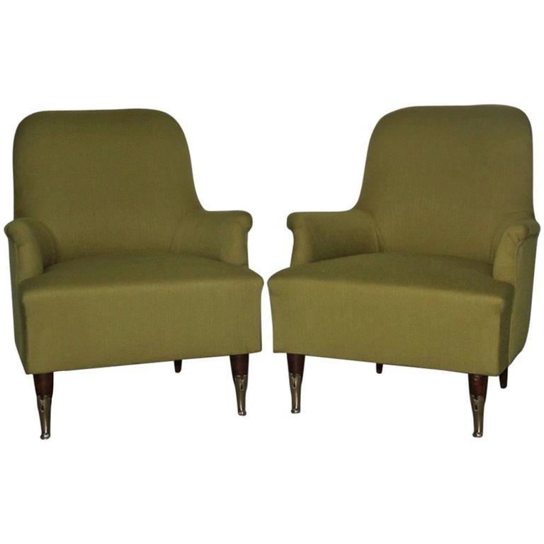 Pair of Particular Armchairs Italian Mid-Century Design, 1950s
