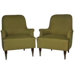 Pair of Armchairs Mid-Century Modern Italian Design, 1950s Green Brass Feet Wood