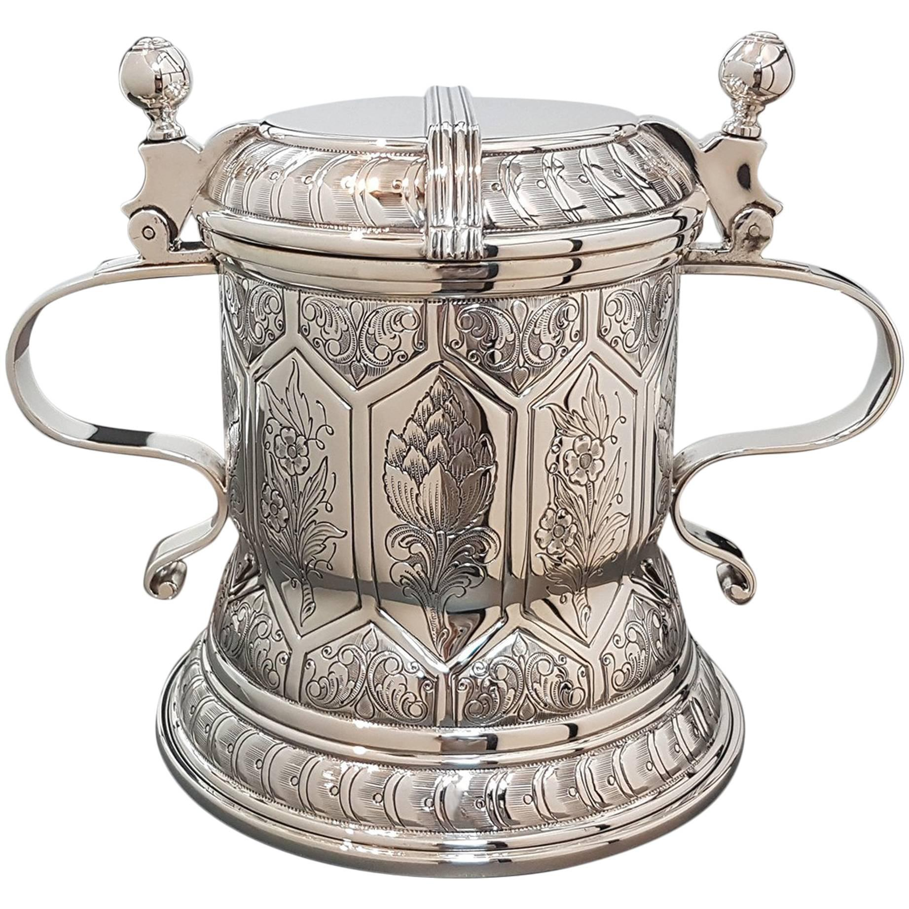 20th century Italian Sterling Silver Tankard german revival. Made in Italy