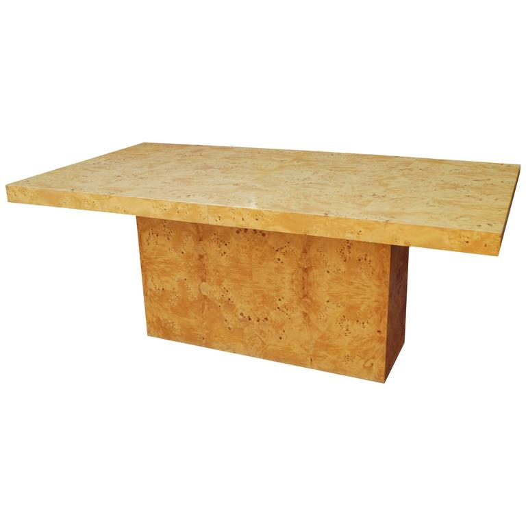 Milo Baughman Expandable Burl Wood Dining Conference Table Wood For Sale