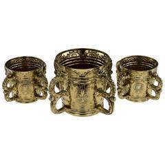 Antique Victorian Solid Silver Gilt Three Wine Coolers, Garrard, circa 1880