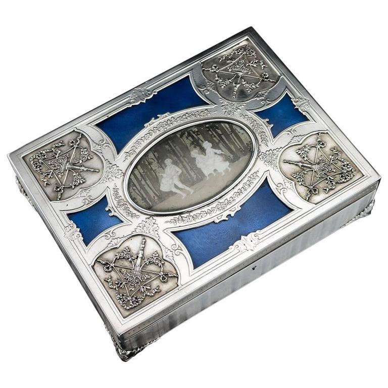 Antique 20th Century French Art Nouveau Solid Silver & Enamel Casket, circa 1900