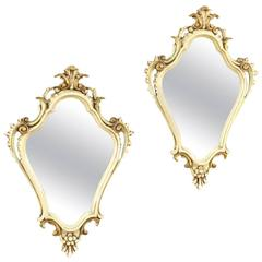 20th Century Pair of Venetian Lacquered and Gilt Mirrors