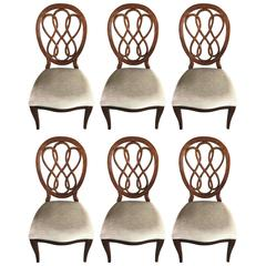 Set of Six Medallion Back Dining Chairs