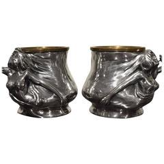 Pair of Pewter Pots Sculpted as Art Nouveau Female Figures