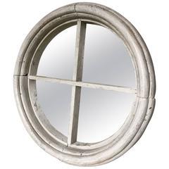 Vintage Antique Architectural Salvage Circular Window Frame Mirror