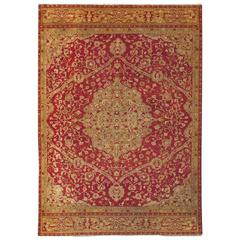Large Antique Agra Carpet with Floral Design in Tones of Red and Gold