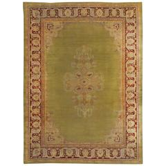 Large Antique Green Indian Amritsar Carpet with Hints of Deep Red