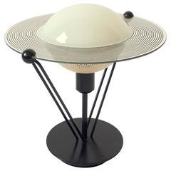 Small Saturn Shaped Glass Table Lamp, 1980s, Italia