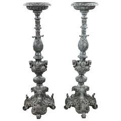 Pair of 19th Century Renaissance Revival Bronze Torchieres