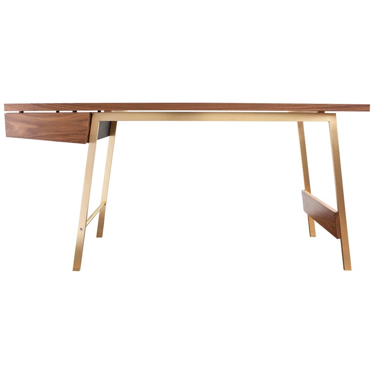 Ad7, Handmade Solid Walnut and Cold-Rolled Steel Desk with Pencil Drawer