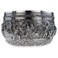 Antique Exceptional Burmese Solid Silver Handcrafted Bowl, circa 1880