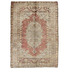 Antique Turkish Sevas Rug with Fine Weave in Cream, Sand and Red