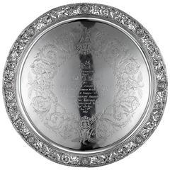 Antique Victorian Cellini Solid Silver Salver, S.Smith, London, circa 1868