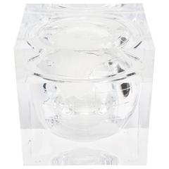 Italian Alessandro Albrizzi Square Etched World Globe Ice Bucket
