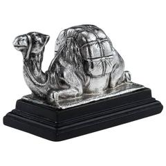 Antique Edwardian Solid Silver Novelty Camel Box, London, circa 1904