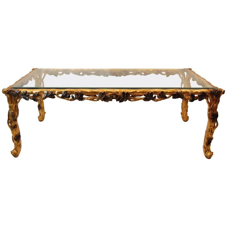 Italian gold leaf carved wood rectangular coffee table for Rectangular coffee table with glass top
