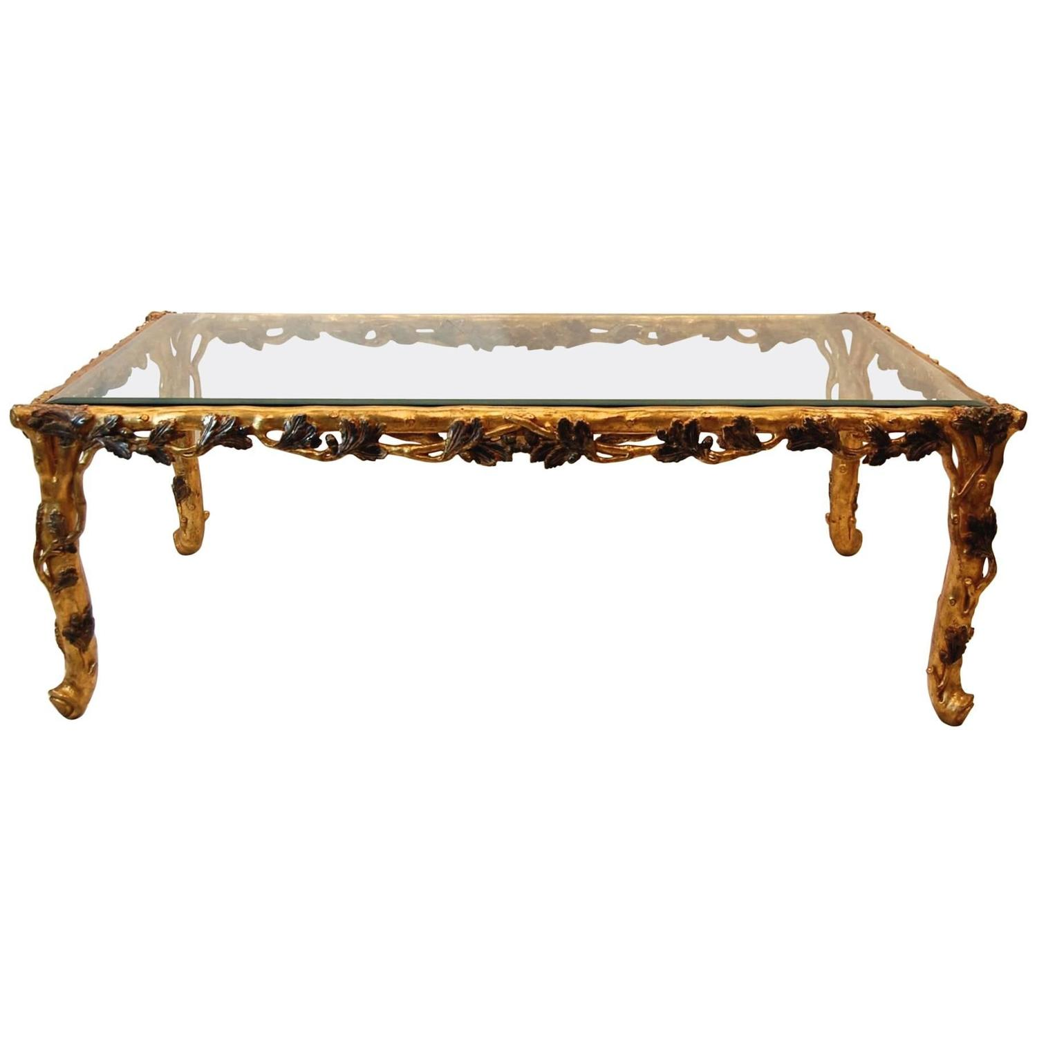 Merveilleux Italian Gold Leaf Carved Wood Rectangular Coffee Table With Bevelled Glass  Top