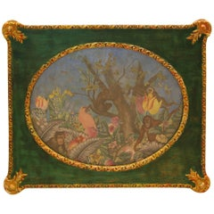 19th & 20th Century Framed Fabric and Paper Decoupage Fantasy Jungle Scene