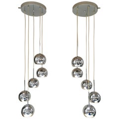Pair of 20th Century Chrome Sphere Lamps