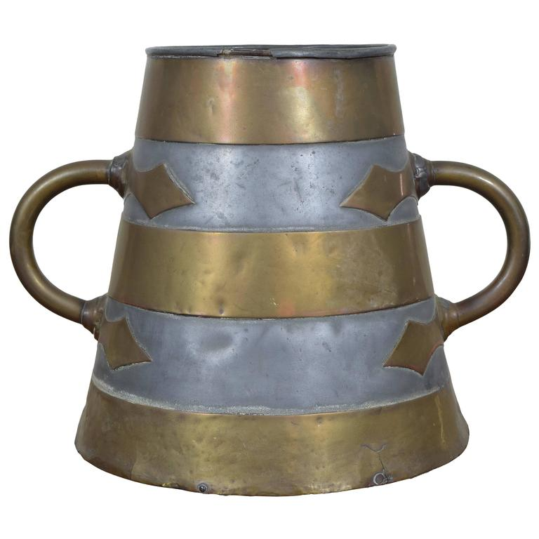 French Brass and Pewter Arts and Craft Bucket, circa 1900 For Sale