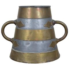 French Brass and Pewter Arts and Craft Bucket, circa 1900
