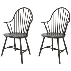 Set of Two Contemporary Windsor Wayland 'Elbow' Armchairs in Black Stain on Ash