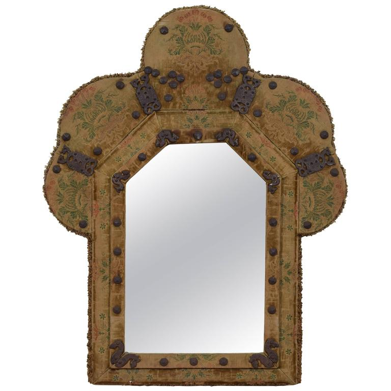 Dutch or English Arts & Crafts, Queen Anne Style Upholstered Mirror, circa 1900