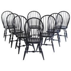 Set of Eight Fox Point Bow Back Dining Chairs in Navy Azimuth Stain by O&G