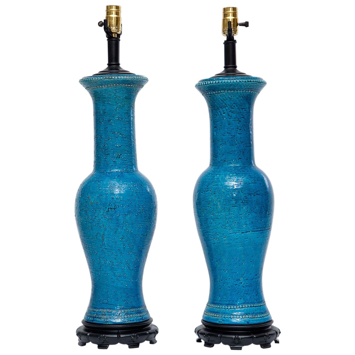 Pair of Tall Bitossi Lamps by Aldo Londi