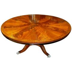 Old English Bench Made Regency Style Brass Inlaid Flame Mahogany Dining Table