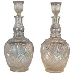 Pr. Identical Clear Pressed Glass Whiskey Decanters w/ Original Stoppers C. 1900