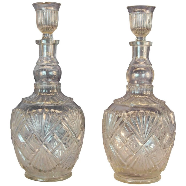 Pr. Identical Clear Pressed Glass Whiskey Decanters w/ Original Stoppers C. 1900 For Sale