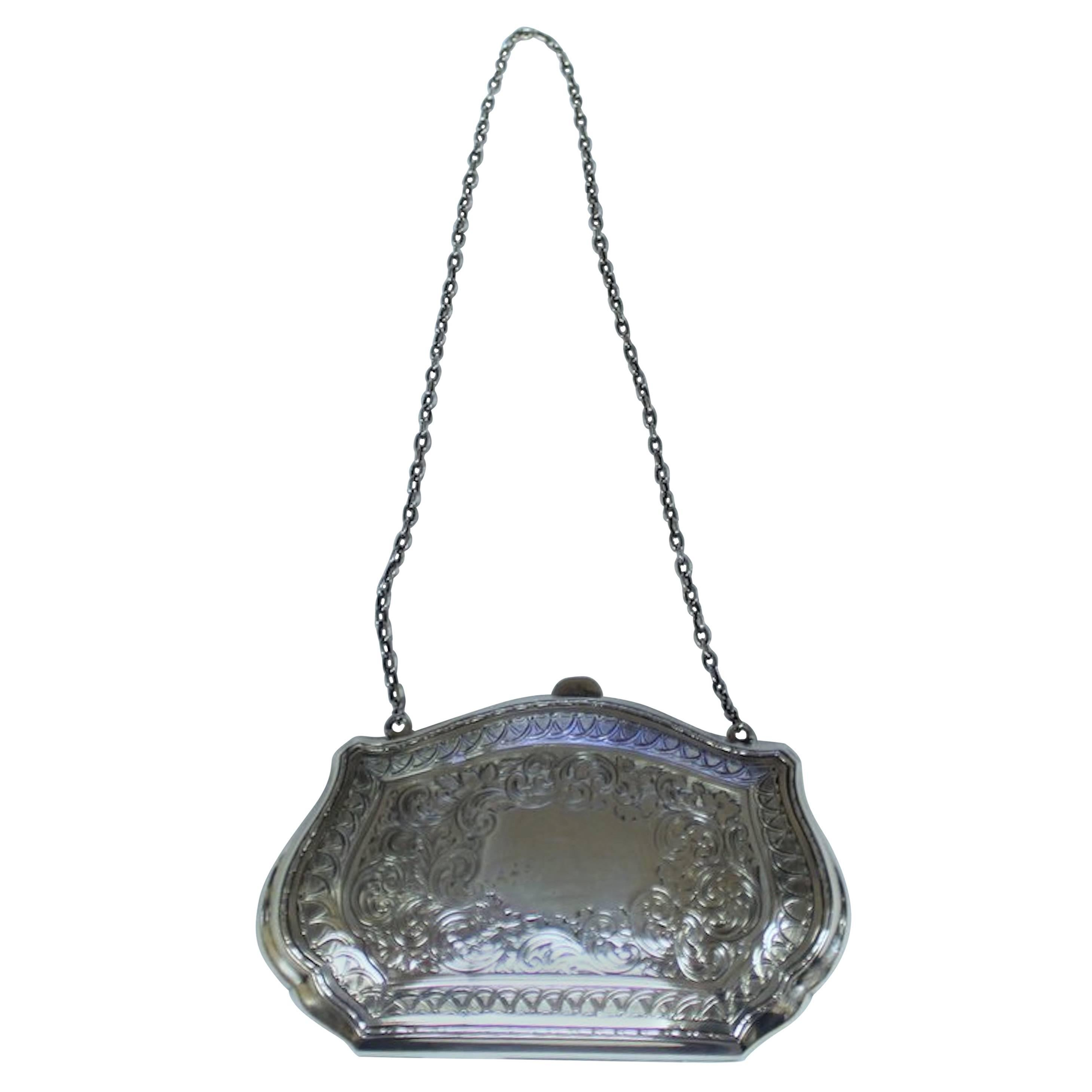 """Old American """"Bight Cut"""" Hand Engraved Heavy Sterling Ladies Purse"""