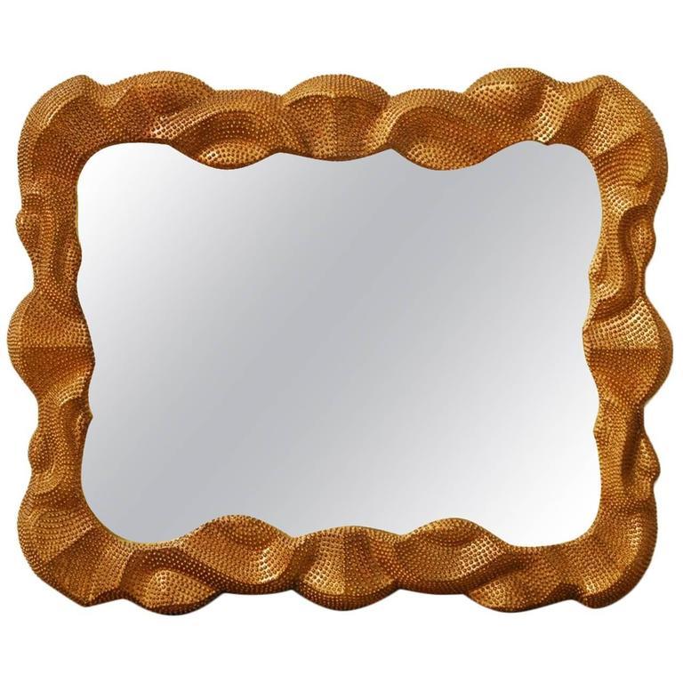 Hollywood Regency Studded Gilt Mirror