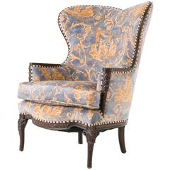 Unusual Louis XV Heart Shape Bergère Chair Armchair with Hermes Toile Garden