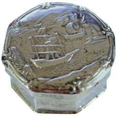 Old Dutch .833 Fine Silver Hand Chased Snuff or Pill Box with Sailing Motif