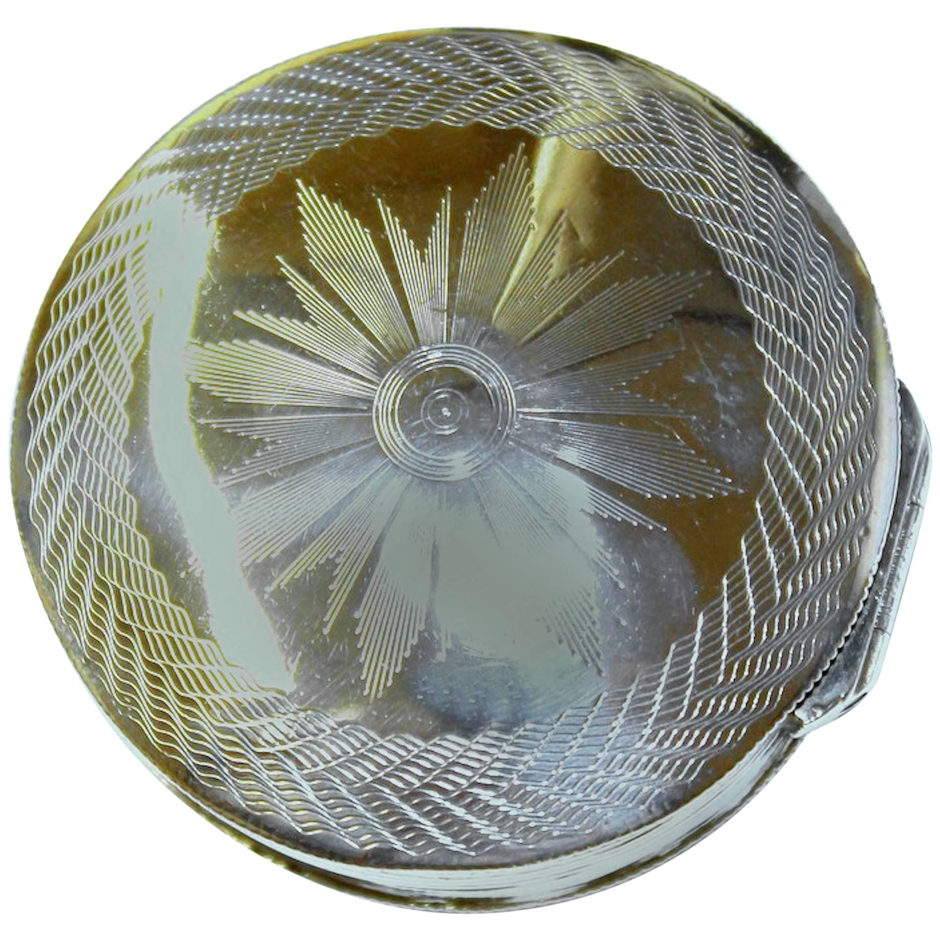 Antique Dutch Hand Engraved 833 Fine Silver Large Round Snuff Box