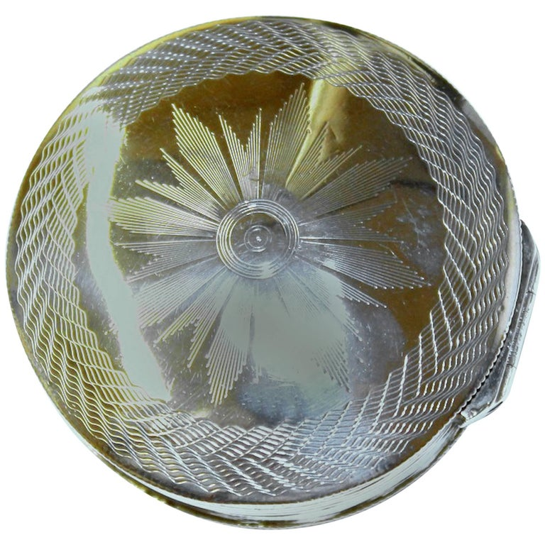 Antique Dutch Hand Engraved 833 Fine Silver Large Round Snuff Box For Sale