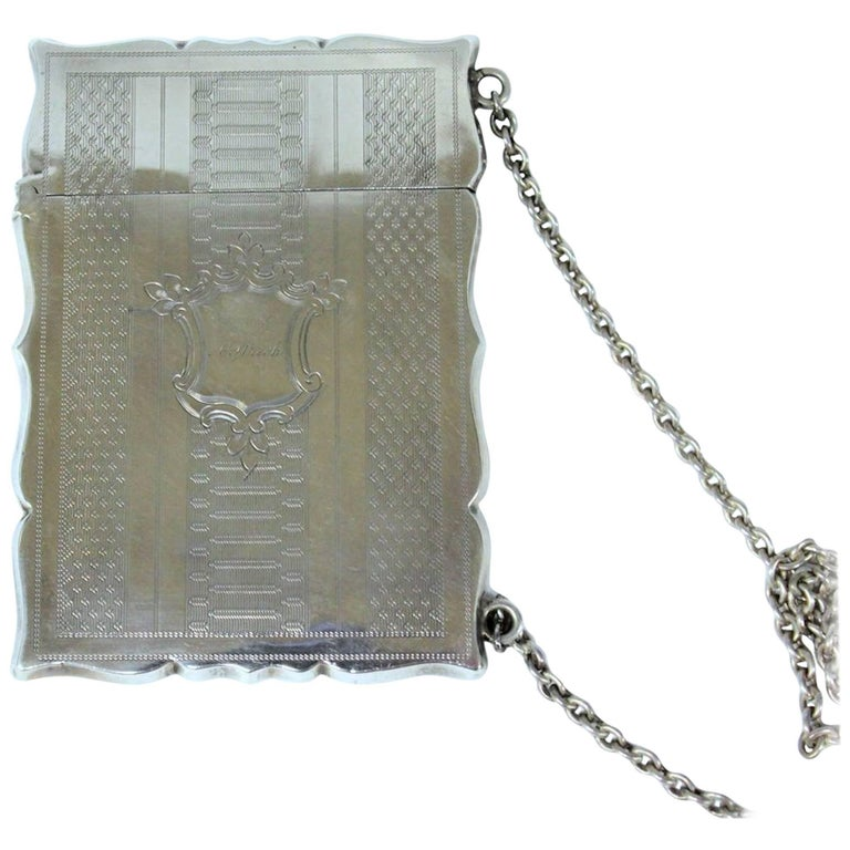 Antique American Coin Silver Hand Engraved Card Case with Chatelaine For Sale