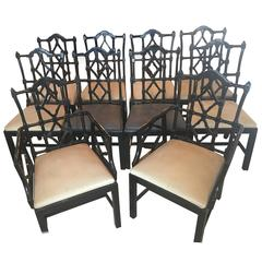 Set of Ten Chinese Chippendale Fretwork Dining Chairs Made in Spain Chinoiserie